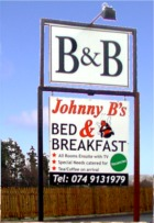 Sign at Johnny B's B&B Ballybofey, Co. Donegal, Ireland